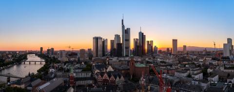 Frankfurt, Germany financial district skyline panorama at sunrise- Stock Photo or Stock Video of rcfotostock | RC-Photo-Stock
