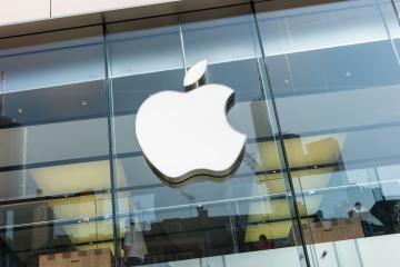 FRANKFURT, GERMANY MARCH, 2017: Apple Logo closeup. Apple is the multinational technology company headquartered in Cupertino, California and sells consumer electronics products.- Stock Photo or Stock Video of rcfotostock | RC-Photo-Stock