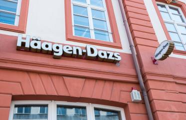 FRANKFURT, GERMANY MARCH, 2017: Haagen-Dazs ice cream store Logo. Haagen-Dazs is an ice cream brand established in 1961 with franchises throughout the world. : Stock Photo or Stock Video Download rcfotostock photos, images and assets rcfotostock | RC-Photo-Stock.: