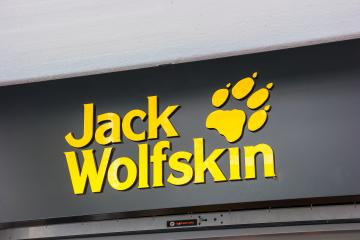 FRANKFURT, GERMANY MARCH, 2017: Jack Wolfskin logo. Jack Wolfskin is a major German producer of outdoor wear and equipment headquartered in Idstein. It was founded in 1981.- Stock Photo or Stock Video of rcfotostock | RC-Photo-Stock