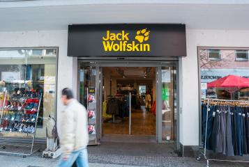 FRANKFURT, GERMANY MARCH, 2017: Jack Wolfskin store. Jack Wolfskin is a major German producer of outdoor wear and equipment headquartered in Idstein. It was founded in 1981. : Stock Photo or Stock Video Download rcfotostock photos, images and assets rcfotostock | RC-Photo-Stock.: