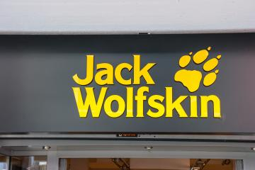 FRANKFURT, GERMANY MARCH, 2017: Jack Wolfskin store logo. Jack Wolfskin is a major German producer of outdoor wear and equipment headquartered in Idstein. It was founded in 1981.- Stock Photo or Stock Video of rcfotostock | RC-Photo-Stock