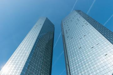 FRANKFURT, GERMANY MARCH, 2017: The Deutsche Bank Twin Towers, also known as Deutsche Bank Headquarters, is a twin tower skyscraper complex in Frankfurt, Germany. - Stock Photo or Stock Video of rcfotostock   RC-Photo-Stock