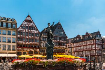 Frankfurt Old town square romerberg with Justitia statue, Germany- Stock Photo or Stock Video of rcfotostock | RC-Photo-Stock