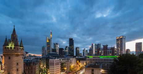 Frankfurt skyline and old town view at dusk- Stock Photo or Stock Video of rcfotostock | RC-Photo-Stock