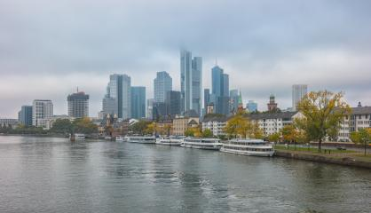 Frankfurt Skyline at Cloudy and foggy Day- Stock Photo or Stock Video of rcfotostock | RC-Photo-Stock