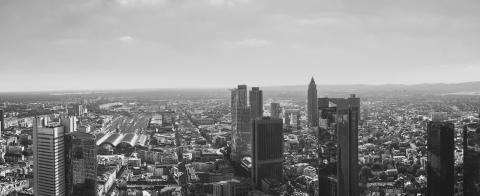 Frankfurt Skyline at dusk Panorama in black and white colors- Stock Photo or Stock Video of rcfotostock | RC-Photo-Stock