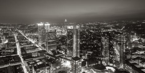 Frankfurt skyline at night in black and white colors- Stock Photo or Stock Video of rcfotostock | RC-Photo-Stock