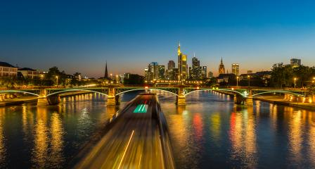 Frankfurt Skyline at summer sunset night view, germany- Stock Photo or Stock Video of rcfotostock | RC-Photo-Stock