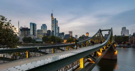 Frankfurt Skyline at sunset view from the Eiserner Steg- Stock Photo or Stock Video of rcfotostock | RC-Photo-Stock