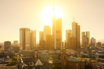 Frankfurt skyline during sunset blue hour- Stock Photo or Stock Video of rcfotostock | RC-Photo-Stock