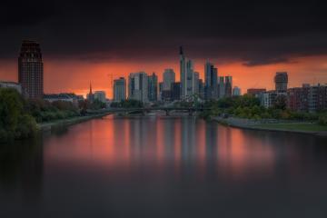 Frankfurt Skyline mit Abendrot, Deutschland Frankfurt am Main : Stock Photo or Stock Video Download rcfotostock photos, images and assets rcfotostock | RC-Photo-Stock.: