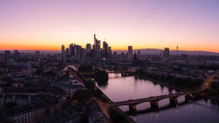 Frankfurt Skyline silhouette at Summer sunset Panorama- Stock Photo or Stock Video of rcfotostock | RC-Photo-Stock
