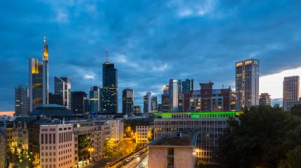 Frankfurt skyline view at a cloudy day at night- Stock Photo or Stock Video of rcfotostock | RC-Photo-Stock
