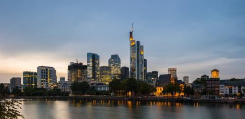 Frankfurt Skyline with skyscraper buildings at dusk- Stock Photo or Stock Video of rcfotostock | RC-Photo-Stock