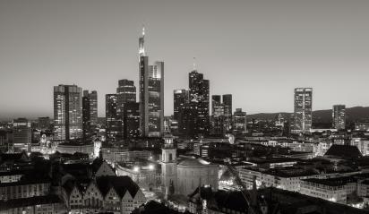 Frankfurt Sykline at night monochrome- Stock Photo or Stock Video of rcfotostock   RC-Photo-Stock