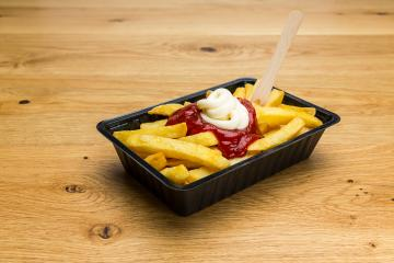 french fries in a shell ketchup and mayonnaise : Stock Photo or Stock Video Download rcfotostock photos, images and assets rcfotostock | RC-Photo-Stock.: