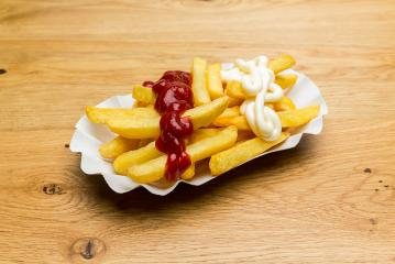 french fries with ketchup and mayonnaise- Stock Photo or Stock Video of rcfotostock | RC-Photo-Stock