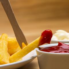 French fries with sauces and fork- Stock Photo or Stock Video of rcfotostock | RC-Photo-Stock