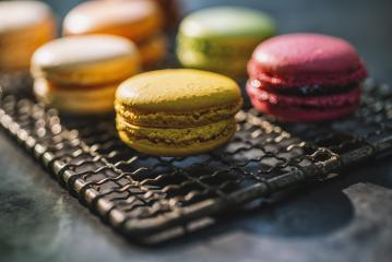 Fresh bright colored Macarons, or macaroons on a Cooling Rack - Stock Photo or Stock Video of rcfotostock | RC-Photo-Stock