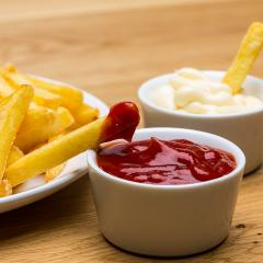 fries with ketchup and mayonnaise- Stock Photo or Stock Video of rcfotostock | RC-Photo-Stock