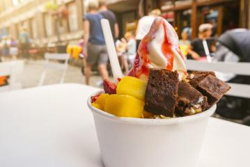 frozen yoghurt with brownie and fruits toppings on a table : Stock Photo or Stock Video Download rcfotostock photos, images and assets rcfotostock | RC-Photo-Stock.:
