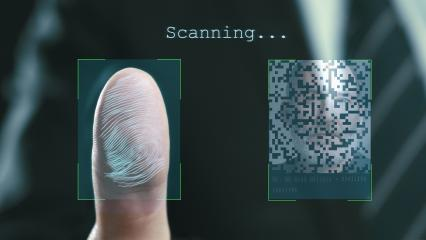 Futuristic digital processing of fingerprints as man holds his hand against a modern fingerprint scanner. Futuristic digital technology and transparent citizen concept. - Stock Photo or Stock Video of rcfotostock | RC-Photo-Stock