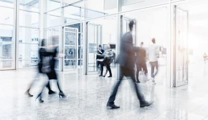 Futuristic environment with blurred people at a trade show- Stock Photo or Stock Video of rcfotostock | RC-Photo-Stock