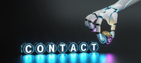 Futuristic robot hand holds contact communication or support Hotline cube and text Contact - ai concept image- Stock Photo or Stock Video of rcfotostock | RC-Photo-Stock