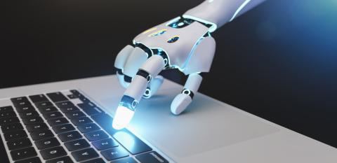 Futuristic robot hand typing and working with laptop keyboard. Mechanical arm with computer.  : Stock Photo or Stock Video Download rcfotostock photos, images and assets rcfotostock | RC-Photo-Stock.: