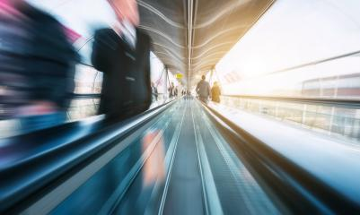 futuristic skywalk with blurred business people- Stock Photo or Stock Video of rcfotostock | RC-Photo-Stock