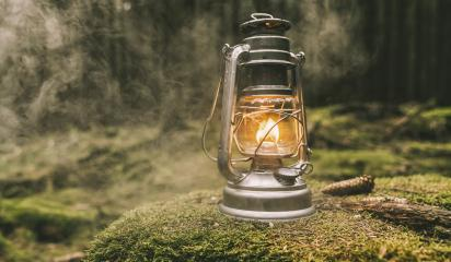 Gasoline lantern on a tree trunk in the deep forest with mist, Hiker, Travel Outdoor Concept image- Stock Photo or Stock Video of rcfotostock | RC-Photo-Stock