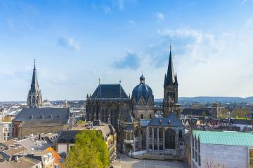 German cathedral in Aachen during spring with blue cloudy sky : Stock Photo or Stock Video Download rcfotostock photos, images and assets rcfotostock | RC-Photo-Stock.:
