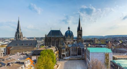 German cathedral in Aachen during spring with blue cloudy sky panorma : Stock Photo or Stock Video Download rcfotostock photos, images and assets rcfotostock | RC-Photo-Stock.: