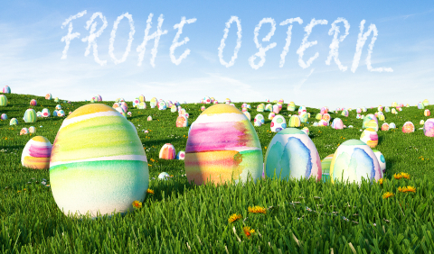 "German slogan ""Frohe Ostern!"" (Happy Easter) greeting with many - Stock Photo or Stock Video of rcfotostock 