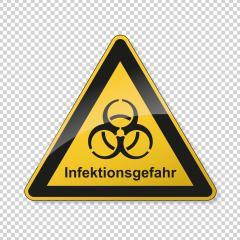 German word Infektionsgefahr (infection risk) during corona Coronavirus 2019-nCoV. Corona virus quarantine infection attention sign. safety signs, warning Sign, Danger symbol BGV Pandemic.Vector Eps10- Stock Photo or Stock Video of rcfotostock | RC-Photo-Stock