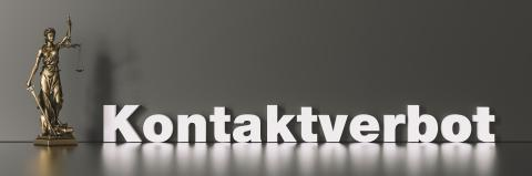 German word Kontaktverbot (contact ban) due to coronavirus crisis with The Statue of Justice - Lady Justice or Iustitia / Justitia the Roman Goddess of Justice- Stock Photo or Stock Video of rcfotostock | RC-Photo-Stock