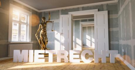 German word Mietrecht (tenancy law) in a apartment with The Statue of Justice - lady justice or Iustitia / Justitia the Roman goddess of Justic as a concept image   - Stock Photo or Stock Video of rcfotostock | RC-Photo-Stock