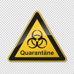 German word quarantäne (quarantine) during corona Coronavirus 2019-nCoV. Corona virus quarantine infection attention sign. safety signs, warning Sign, Danger symbol BGV Pandemic concept. Vector Eps10. : Stock Photo or Stock Video Download rcfotostock photos, images and assets rcfotostock | RC-Photo-Stock.: