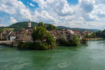 Germany, city of Laufenburg, Danube river with bridge and typical german houses- Stock Photo or Stock Video of rcfotostock | RC-Photo-Stock
