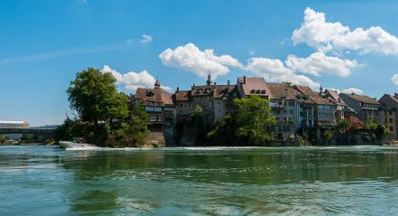 Germany,Switzerland,Laufenburg, View of bridge above river rhine with city at summer.- Stock Photo or Stock Video of rcfotostock | RC-Photo-Stock