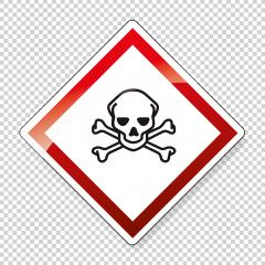 GHS hazard pictogram - ACUTE TOXICITY , hazard warning sign acute toxicity on checked transparent background. Vector illustration. Eps 10 vector file.- Stock Photo or Stock Video of rcfotostock | RC-Photo-Stock
