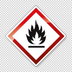 GHS hazard pictogram - FLAMMABLE , hazard warning sign flammable on checked transparent background. Vector illustration. Eps 10 vector file.- Stock Photo or Stock Video of rcfotostock | RC-Photo-Stock