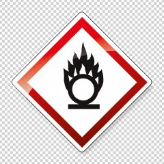 GHS hazard pictogram - OXIDISING , hazard warning sign oxidising on checked transparent background. Vector illustration. Eps 10 vector file.- Stock Photo or Stock Video of rcfotostock | RC-Photo-Stock