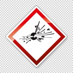 GHS01 hazard pictogram EXPLOSIVE , hazard warning sign EXPLOSIVE on checked transparent background. Vector illustration. Eps 10 vector file.- Stock Photo or Stock Video of rcfotostock | RC-Photo-Stock