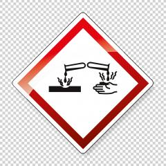 GHS05 hazard pictogram - CORROSIVE , hazard warning sign CORROSIVE on checked transparent background. Vector illustration. Eps 10 vector file.- Stock Photo or Stock Video of rcfotostock | RC-Photo-Stock