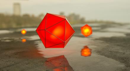 glowing hexagonal balls with water puddles - 3D rendering- Stock Photo or Stock Video of rcfotostock | RC-Photo-Stock