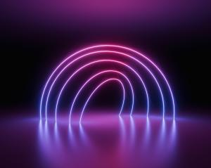 glowing lines, tunnel, neon lights, virtual reality, abstract background, round portal, arch, pink blue spectrum vibrant colors, laser - Stock Photo or Stock Video of rcfotostock | RC-Photo-Stock