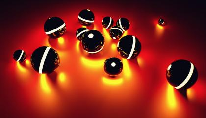Glowing spheres in random position with light effect in the dark - futuristic background - 3D rendering- Stock Photo or Stock Video of rcfotostock | RC-Photo-Stock