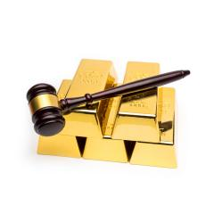 gold bars with judge gavel on white- Stock Photo or Stock Video of rcfotostock | RC-Photo-Stock